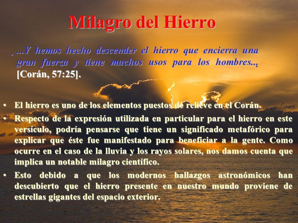 Milagro del Hierro ...Y hemos hecho descender el hierro que encierra una gran fuerza y tiene muchos usos para los hombres... [Corán, 57:25].